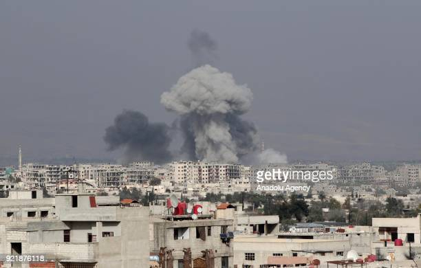 Smoke rises after Assad Regime forces carried out an airstrike over Arbin town of the Eastern Ghouta region which is a deescalation zone of Damascus...