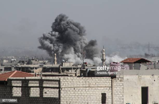 Smoke rises after Assad Regime's airstrike hit residential areas in Eastern Ghouta despite decisions to implement a ceasefire made separately by...