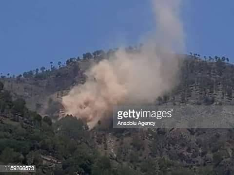 Smoke rises after Indian forces attacked near Line of Control in Pakistan on August 03 2019 Pakistan Army claims that Indian forces used cluster...