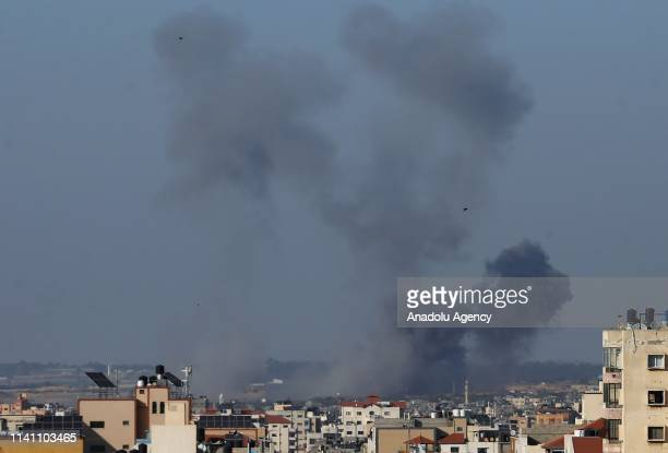 Smoke rises after Israeli army carried out airstrike across the border in the Gaza Strip on the grounds that rockets were thrown to Israel side in...