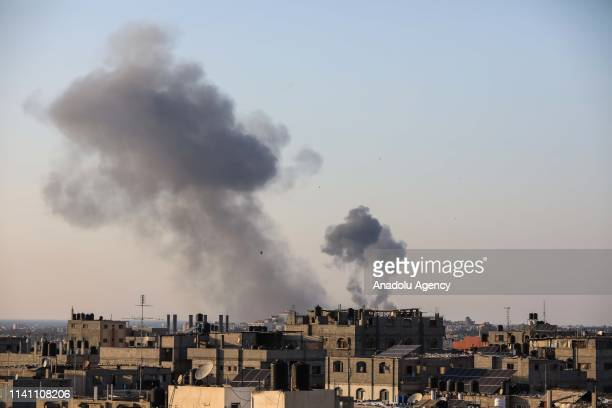 Smoke rises after Israeli army carried out airstrike near Al Bureij Refugee Camp in Gaza City Gaza on May 4 2019
