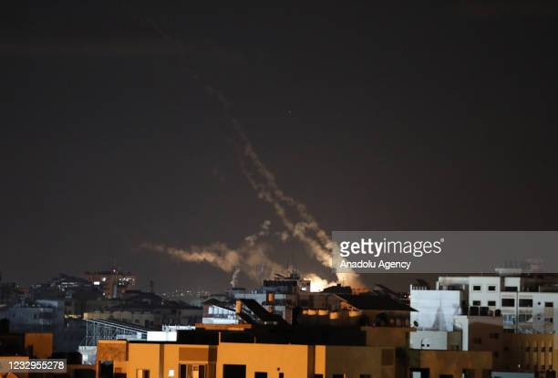 Smoke rises after Israeli army carried out attacks over buildings in Gaza City, Gaza on May 17, 2021.