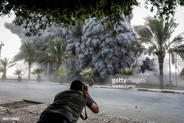 Smoke rises after Israeli fighter jets pounded Al Katiba region in Gaza City Gaza on July 14 2018