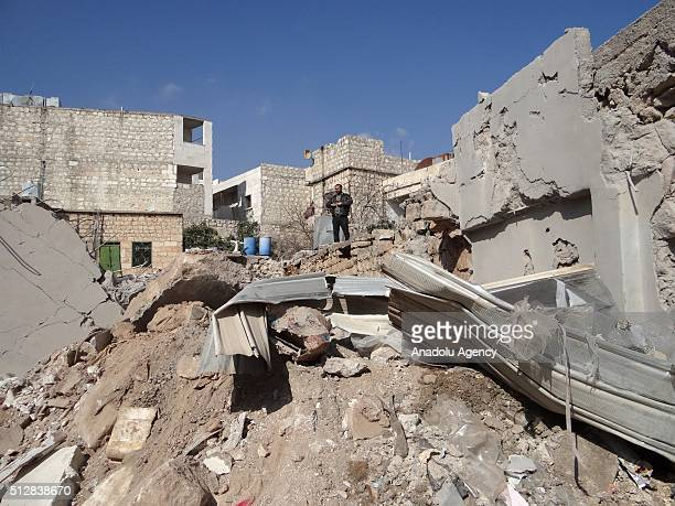 Smoke rises after Russian airstrikes hit residential areas in the the Darat Izza town of Aleppo Syria on February 28 2016 Despite a temporary...