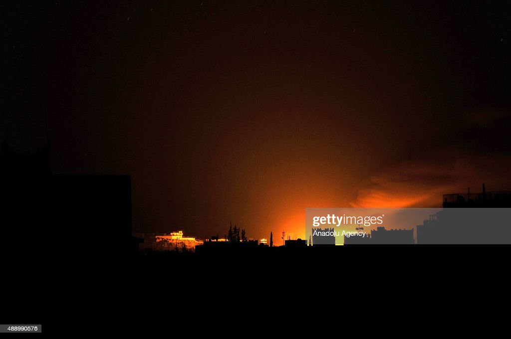 Saudi-led coalition carry out airstrike in Sana'a : News Photo