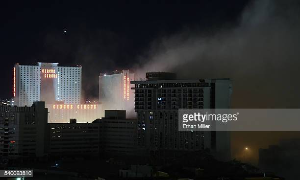 Smoke rises after the 24story Monaco Tower at the shuttered Riviera Hotel Casino was imploded on June 14 2016 in Las Vegas Nevada The 60year old Las...