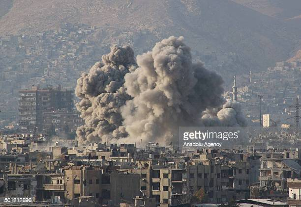 Smoke rises after the war crafts belonging to the Russian Army carried out airstrikes on oppositioncontrolled Douma district of eastern Ghouta...