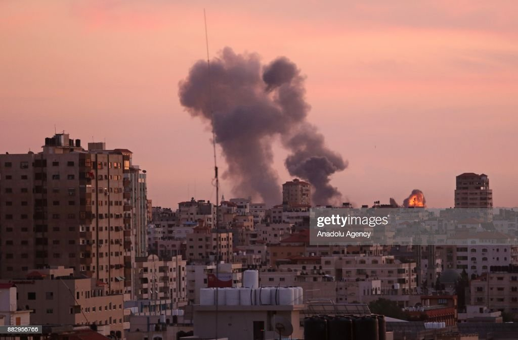 Israeli army carried out airstrikes over Gaza : News Photo