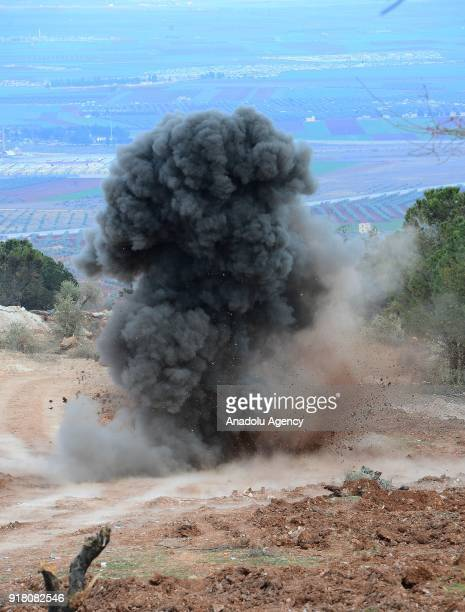 Smoke rises as a preplaced explosive is set off while Turkish Army soldiers search for explosive ordnances to dispose after Turkish army and Free...