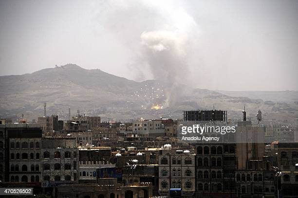 Smoke rises as Saudi-led coalition air strikes hit the Houthi targets in the Hamdan region, northwest of Sanaa, Yemen on April 21, 2015.