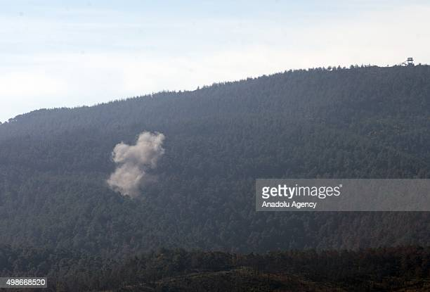 Smoke rises as the Syrian regime forces attack the region where Russian warplane downed within the framework of engagement rules by Turkey in Syria's...