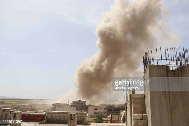 Smoke rises at the site after the air attacks carried out by Assad Regime warplanes over the deescalation zone of Saraqib district in Idlib Syria on...