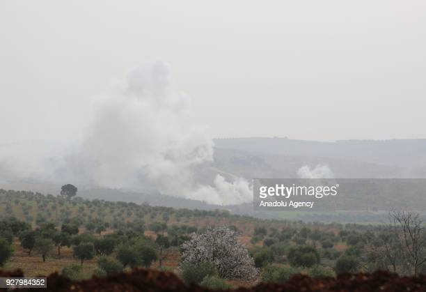 Smoke rises due to clashes as Turkish Armed Forces and Free Syrian Army liberated three more villages including Khirabat Sharanli, Sharanli and...