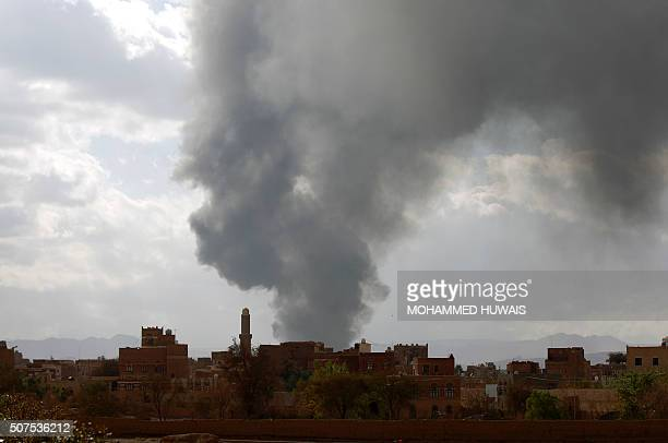Smoke rises following airstrikes allegedly carried out by the Saudiled alliance targeting a Houthicontrolled training centre in the Yemeni capital...