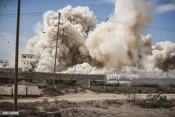 Smoke rises following houses were blown up by Egyptian security forces in Rafah near the border with southern Gaza Strip October 30 2014 Egypt began...