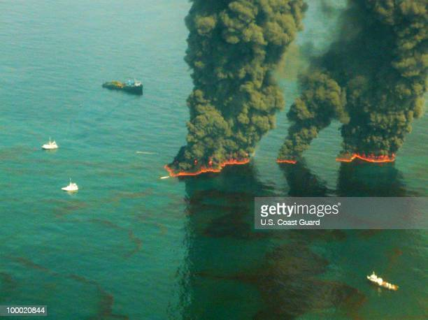 Smoke rises from a controlled burn May 19 2010 in the Gulf of Mexico According to reports May 20 Environmental Protection Agency has ordered BP to...