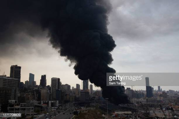 Smoke rises from a fire which has broken out at the Beirut Port on September 10, 2020 in Beirut, Lebanon. The fire broke out in a structure in the...