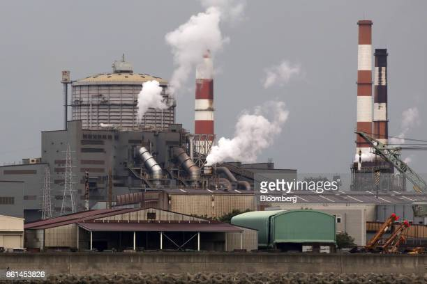 Smoke rises from a Kobe Steel Ltd plant in Kakogawa Hyogo Japan on Saturday Oct 14 2017 Kobe Steel's fake data scandal expanded to its core business...
