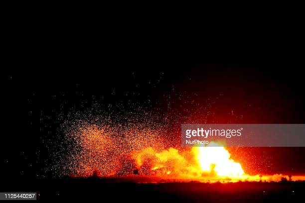 Smoke rises from an explosion during an Indian Air Force excercise named ' Vayu Shakti2019' at the Air Force firing range of Pokhran Rajasthan India...