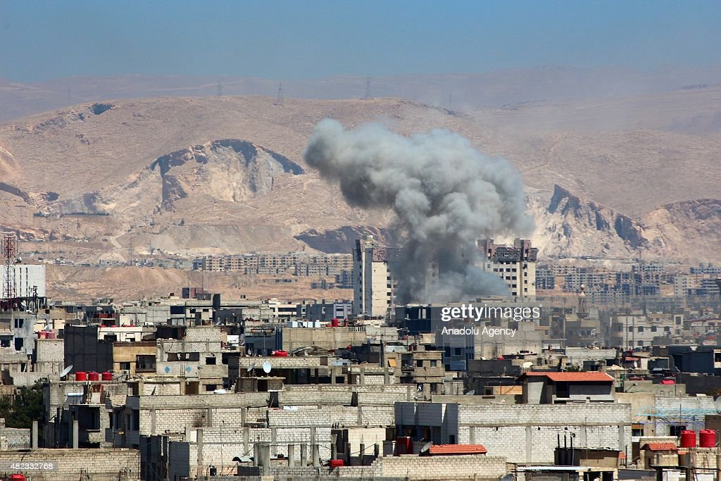 Assad forces attack to Arbin district : News Photo