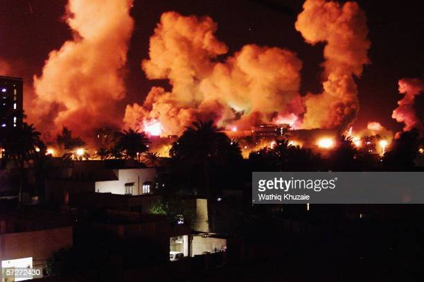 Smoke rises from explosions during the first few minutes of a massive air attack on March 21 2003 in Baghdad Iraq The third year anniversary since...