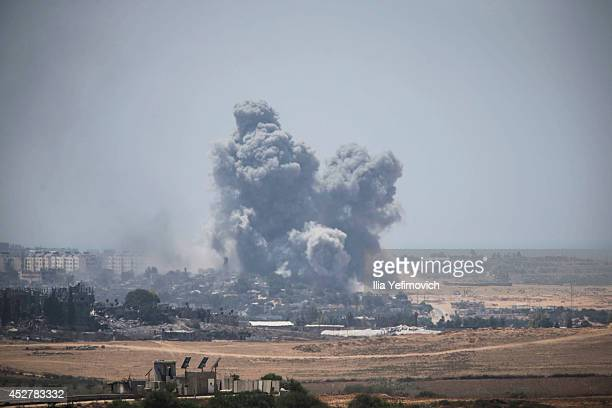 Smoke rises from Gaza Strip after Israeli shelling moment before the 24 hour ceasefireon July 27 2014 on the Israeli/Gaza border Israel42 Israeli...