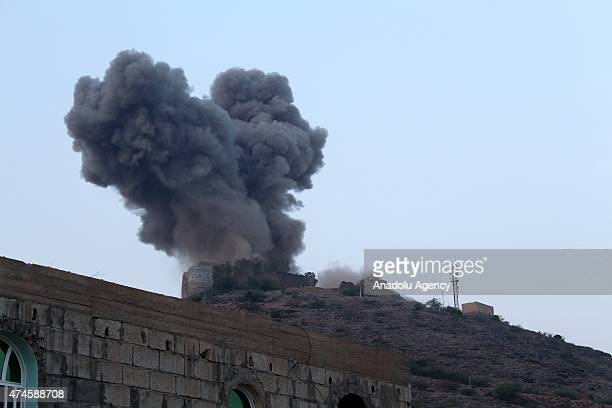 Smoke rises from Jabal al Sharif Castle used as a patrol by Houthis after Saudiled coalition airstrikes hit the Houthi targets in Al Hudaydah on May...