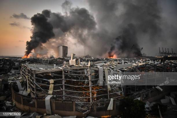 Smoke rises from the port after the explosion on August 4, 2020 in Beirut, Lebanon. According to the Lebanese Red Cross, at the moment over 100...