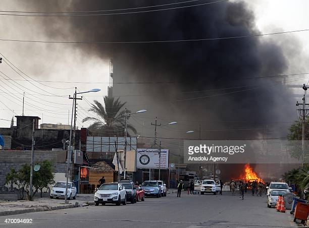 Smoke rises from the site of an explosion near US Consulate General in Ankawa district of Erbil northern Iraqi Kurdish region on April 17 2015