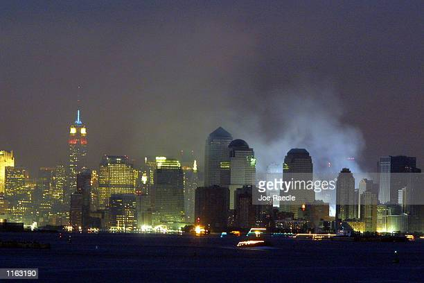 Smoke rises from the site of the World Trade Center collapse September 17 2001 in the wake of the September 11 attack on the World Trade Center by...