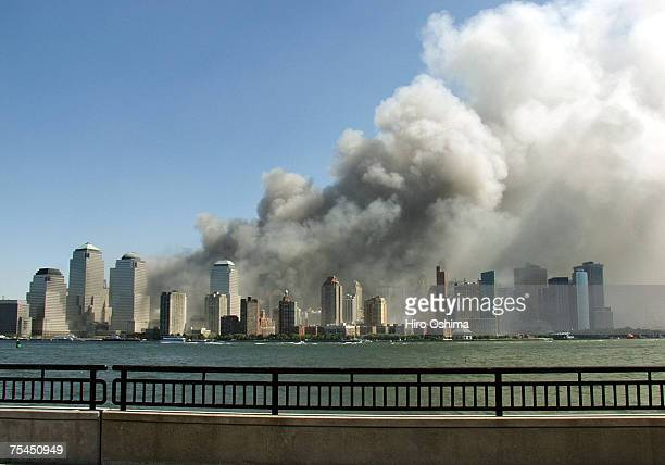 Smoke rises over the New York Skyline from the scene of the World Trade Center Attack