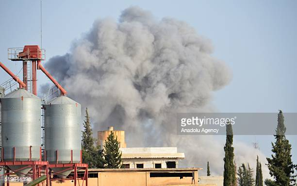 Smoke rises USled coalition reinforce opposition forces with warcrafts as they attack Daesh terrorists targets after opposition forces seize the...