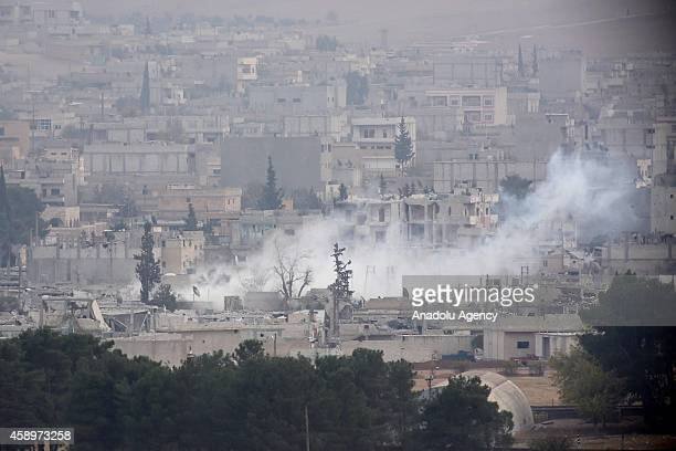 Smoke rising from Kobani town of northern Syria during the missile and mortar attacks between Islamic State of Iraq and Levant and Kurdish armed...