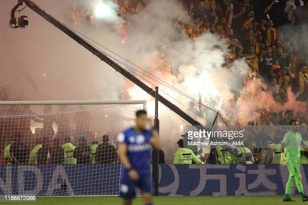 Smoke rising from the Esperance Sportive de Tunis fans end due to pyrotechnics being set off during the FIFA Club World Cup 2nd round match between...