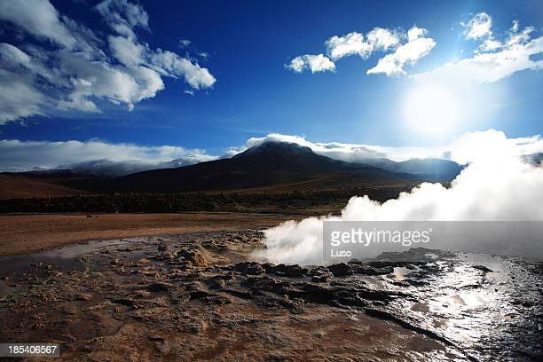 Smoke rising from the Geyser del Tatio