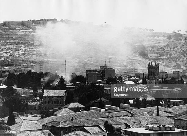 Smoke rising from the Old City of Jerusalem during the SixDay War June 1967