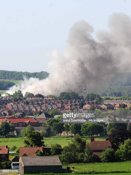 Smoke rising from the Warsop Rubber Company factory in Market Warsop near Mansfield as an estimated 400000 tyres burn