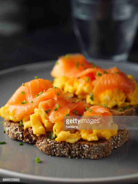 smoke salmon,scrambled eggs on wheaten bread