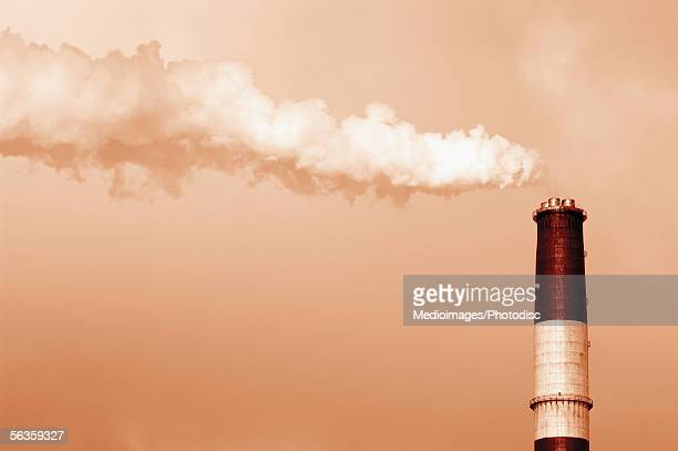 Smoke stack on a cloudy day