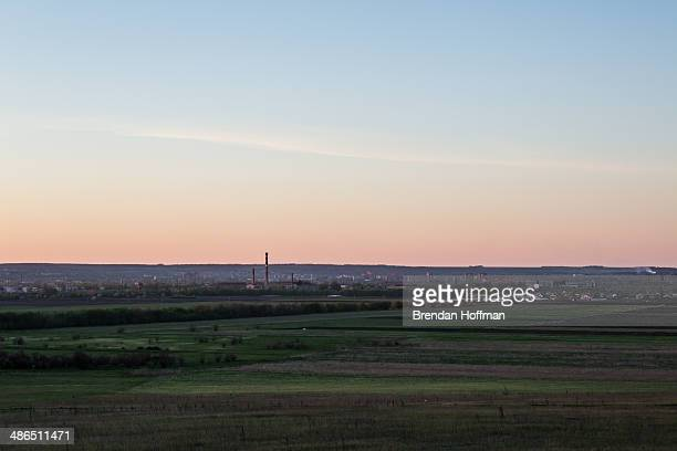 Smoke stacks are visible from the outskirts of the city on April 24 2014 in Slovyansk Ukraine ProRussian activists have been occupying government...