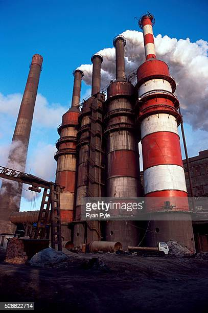Smoke stacks at the Bao Steel mill in Baotou Inner Mongolia China Baotou is an excellent example of a oneindustry town and that industry is steel...