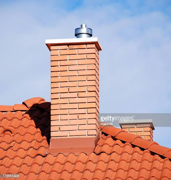 smoke stacks on the tiled roof