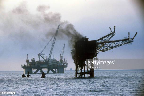 Smoke still billows from the burning wreckage of the Piper Alpha oil production platform after it exploded killing 167 workers on board It is the...