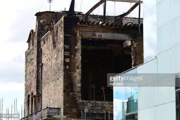 Smokeblackened remains of the Glasgow School of Art Mackintosh building which was completly burned out in a major fire still carry recognisable...