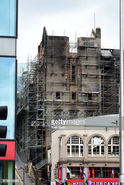 Smokeblackened remains of the Glasgow School of Art Mackintosh building which was completely burned out in a major fire still carry recognisable...