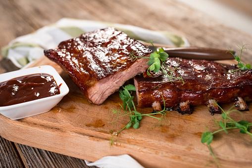Smoked Barbecue Pork Spare Ribs 923181602