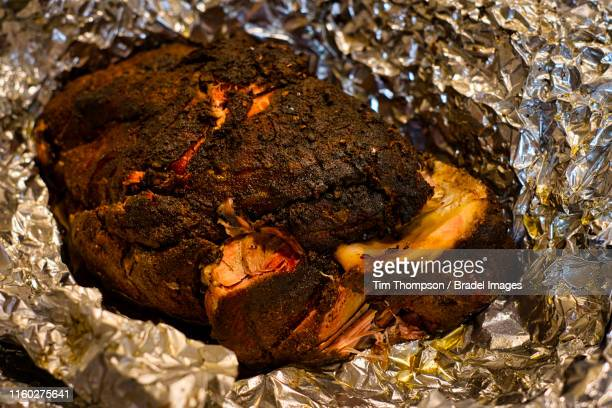 smoked boston butt - smoked food stock photos and pictures