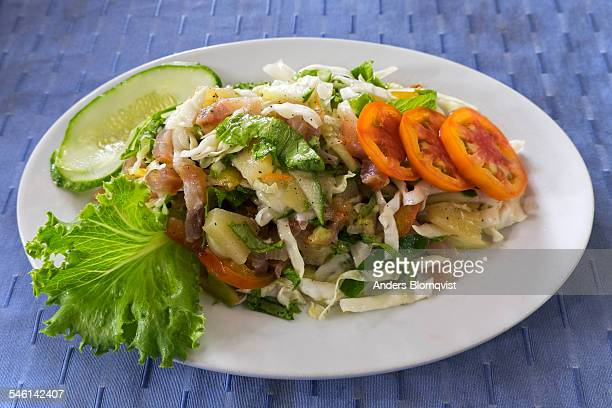Smoked fish salad, traditional dish in Seychelles
