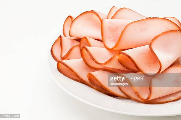 smoked ham slices on a plate - delicatessen stock pictures, royalty-free photos & images