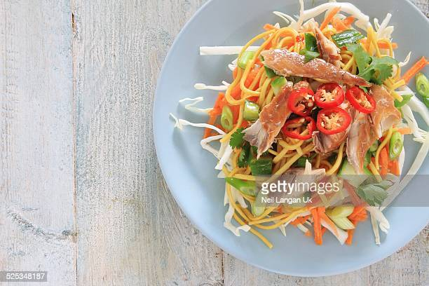 smoked mackerel with noodles and vegetables